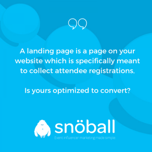 What is an event landing page?