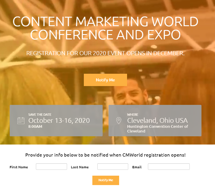 Event landing page examples - Content Marketing World