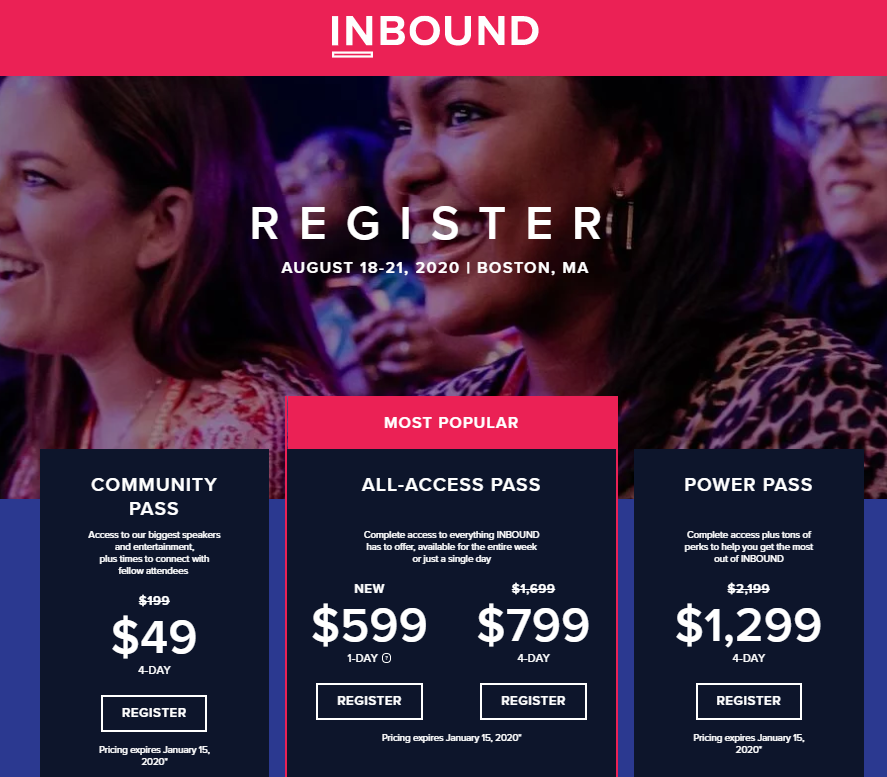 event landing page examples - Inbound