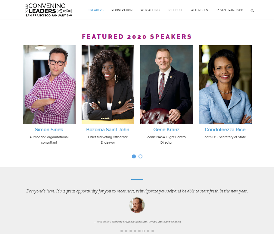 Event landing page examples - PCMA Convening Leaders