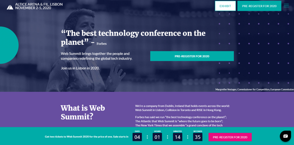 event landing page examples - Web Summit