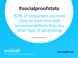 Social Proof stats - non paid recommendations